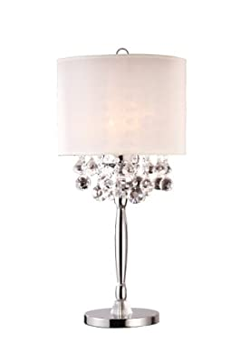 "30""h Modern Crystal Chandelier with White Shade Table Lamp"