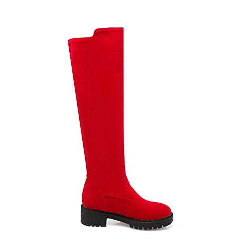 Allhqfashion Women's Kitten-Heels Frosted High-Top Solid Zipper Boots Red 0zJssxuBog
