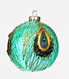 4'' Peacock Glass Ball Ornament by One Hundred 80 Degrees (green)