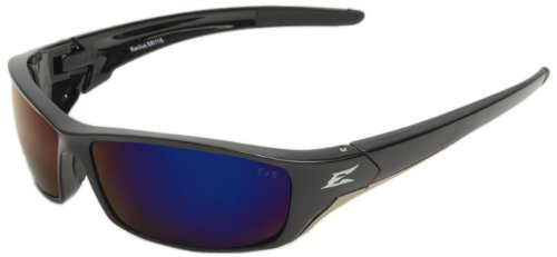 Edge Eyewear SR118 Reclus Safety Glasses, Black with Blue Mirror ()