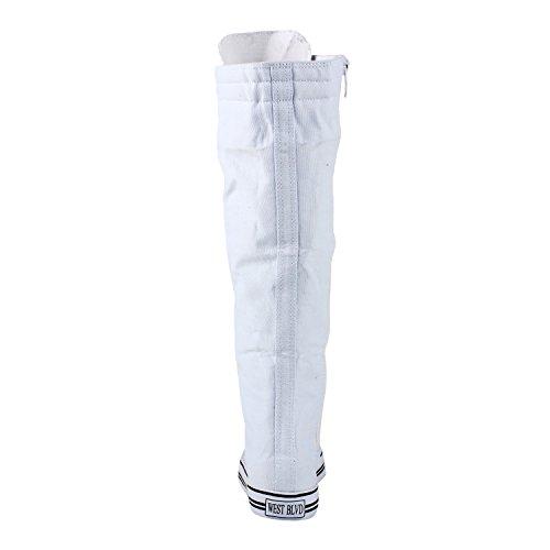 West Blvd Womens Sneaker Kniehohe Schnürstiefel Weiß