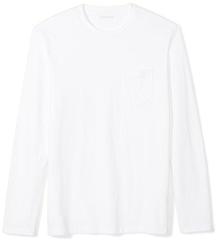Amazon Essentials Men's Slim-Fit Long-Sleeve Pocket T-Shirt, White, Large