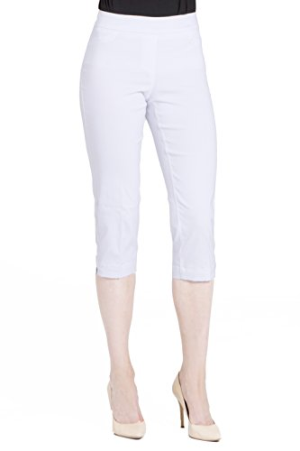 (Vincenté Women's Super Slimming Perfect Comfort Fit Pull On Capri Pants for Women with Contoured Waistband and Tummy Control, Color White Size)