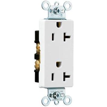 PASS & SEYMOUR 26342W 20-Amp Decorator Duplex Receptacle, White ...