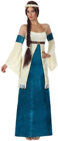 Atosa - Disfraz de mujer dama medieval, color azul y blanco, XL ...