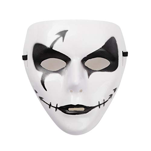 (iEFiEL Hand-Painted Full Face PVC Spooky Ghost Cosplay Dancing Mask Breathable Holes White&Black One)