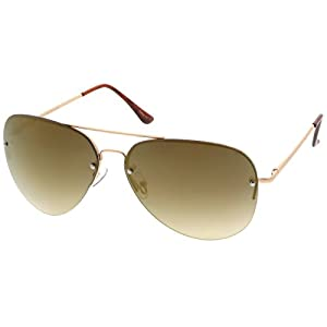 sunglassLA - Oversize Rimless Aviator Sunglasses Teardrop Mirrored Lens Metal Slim Arms 65mm (Gold / Gold Mirror)