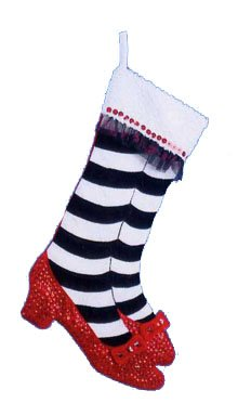 The Wizard of Oz Kurt S. Adler 23-Inch Red, Black and White Legs and Shoes Christmas Stocking