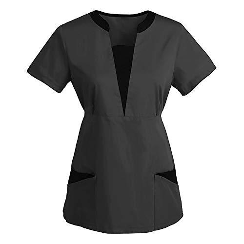 QiFei Ziekenhuis sliphemd blouse slanke taille korte mouwen V-hals gemengde stof casack vrouwen verzorging kleurrijke…