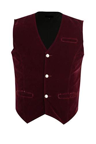 Mens Vest Waistcoat Gothic Steampunk Victorian/Red Velvet Wedding Vest (XXXX-Large, Red) ()