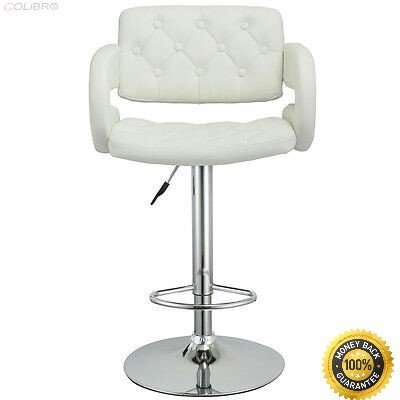 COLIBROX--Set of 2 PU Leather Swivel Bar Stools Hydraulic Pub Chair Adjustable White New Barstools Chairs Set of 2 Acrylic - White Stool Acrylic Bar