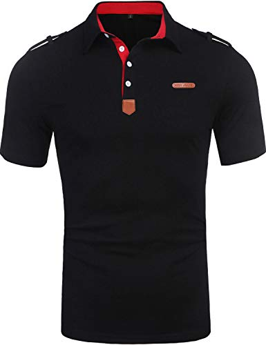 Daupanzees Men's Casual Classic Solid Short Sleeve Jersey Polo Shirt (Black, XX-Large)
