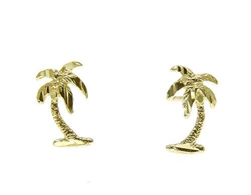 Tree Palm 14k (14K solid yellow gold small diamond cut Hawaiian palm tree stud post earrings)