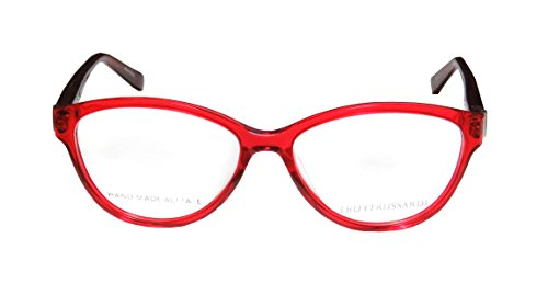 Trussardi 12519 WomensLadies Ophthalmic Popular Style Designer Full-rim Spring Hinges EyeglassesEyewear (54-15-135 Red  Burgundy  Silver)