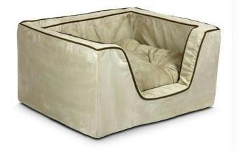Snoozer Luxury Square Pet Bed, Medium, Black/Herringbone