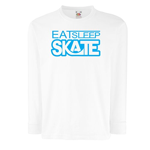 T-Shirt for Kids Eat Sleep Skate - for Skaters, Skate Longboard, Skateboard Gifts (12-13 Years White Blue)