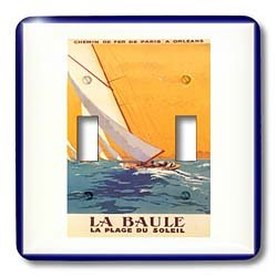 3dRose LLC lsp_109639_2 Paris Vintage Travel Poster with Sailboat Double Toggle Switch by 3dRose