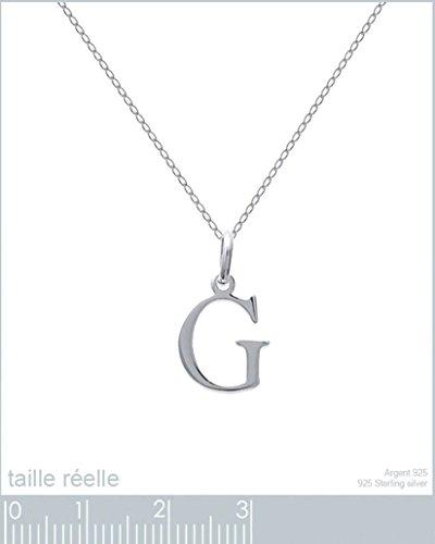 Lot pendentif initiale lettre G en Argent 925 + Chaîne 50cm en Argent 925
