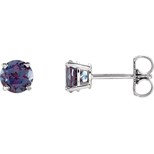 14k White Gold Lab Created Alexandrite 5mm Friction Polished Chatham Created Alexandrite Earrings ()
