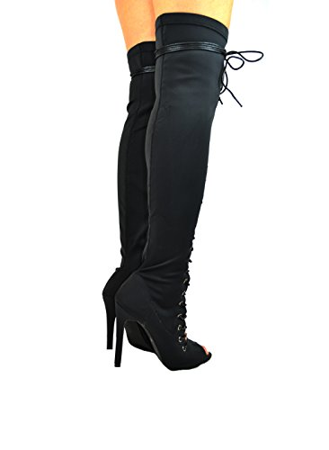 amp; 9 Front Chloe Black Chase Lycra Heel Zipper Womens Up Side With Boot High Emelia Thigh Lace Slim pdtAWqW