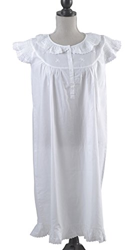 stylesilove Handmade Girls' Embroidered Night Dress White - Age 2-9 - (Ages 7-9, Eyelet Accent) ()