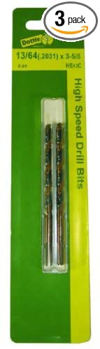 L.H Black and Gold 3-Pack 3//16-Inch Diameter by 3-1//2-Inch Length Dottie HS12C Drill Bit
