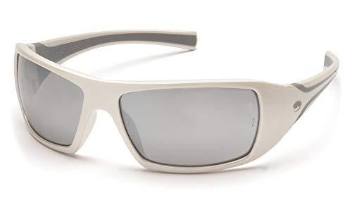 Pyramex Goliath Safety Eyewear, White Frame, Silver Mirror Lens