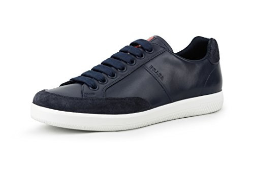 Prada Men's Plume Calf Leather With Suede Trainer Sneaker, Blue (Baltico) 4E3027 (9 US/8 - Uk Men Prada