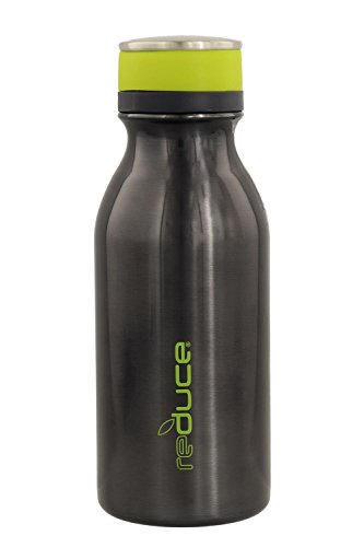 - reduce COLD-1 Stainless Steel Vacuum Insulated Hydro Pro Bottle with Nonslip Rubber Base, 14oz - Tasteless and Odorless (Gray w/Lime Green Accents)