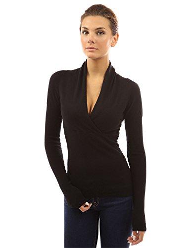 PattyBoutik Women V Neck Empire Waist Knit Top (Black S)