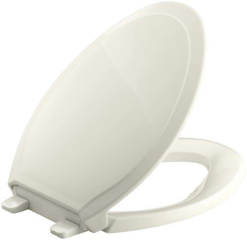 KOHLER K-4734-96 Rutledge Quiet-Close with Grip-Tight Bumpers Elongated Toilet Seat, Biscuit