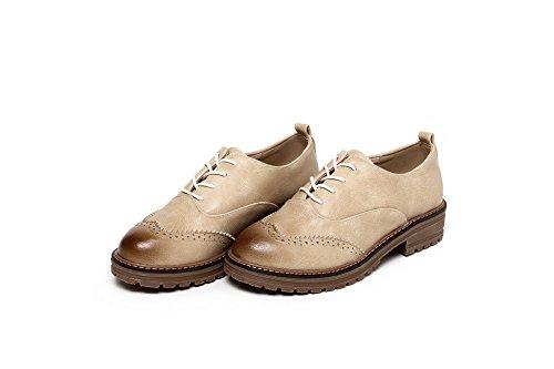 Allhqfashion Chaussures À Lacets Bout Rond Talon Bas Femmes Matériaux Mélangés Beige