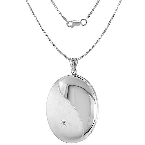 1 3/8 inch Large Diamond Oval Locket/Urn Necklace 1 Picture, 24 inch_BX24