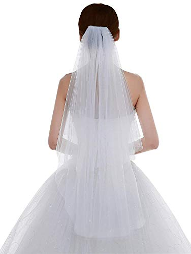 (Women's Tulle Bridal Veil Short Wedding Veil with Comb Two Tier Veil Raw Edge White)