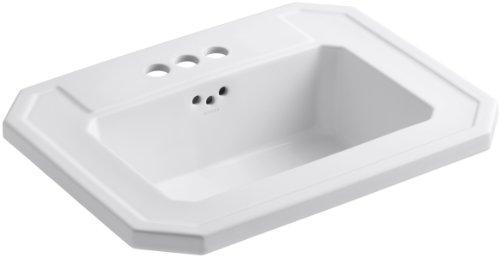 KOHLER K-2325-4-0 Kathryn Self-Rimming Bathroom Sink, White