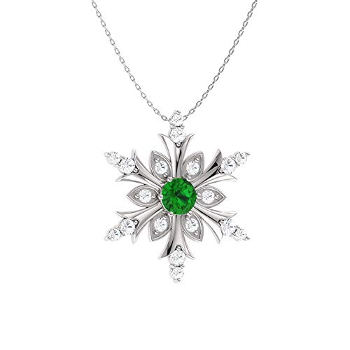 Diamond 1/5 Fashion Ct Necklace - Diamondere Natural and Certified Emerald and Diamond Snowflake Necklace in 14k White Gold | 0.20 Carat Pendant with Chain