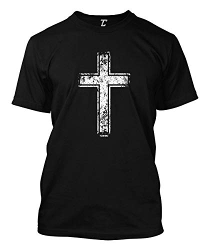 - Distressed Cross - Religious Christian Christ Men's T-Shirt (Black, Large)