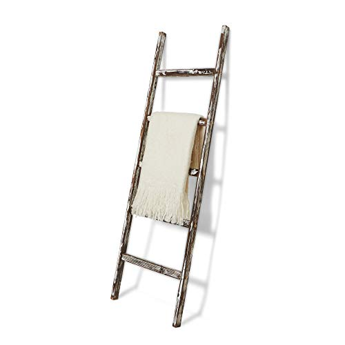 Blanket Ladder 5 ft Rustic Wooden Decorative - Wood Farm Decor Rack for Throw, Towel, Quilt & Blankets Holder Storage/Display/Shelf - Leaning Old Antique White Farmhouse Wall Ladders House Decorations