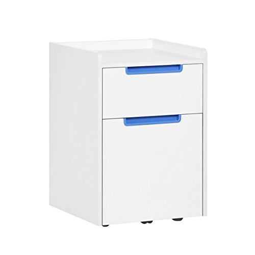 DEVAISE 2-Drawer Wood Mobile File Cabinet with Wheels, Letter Size/A4, White & Blue by DEVAISE