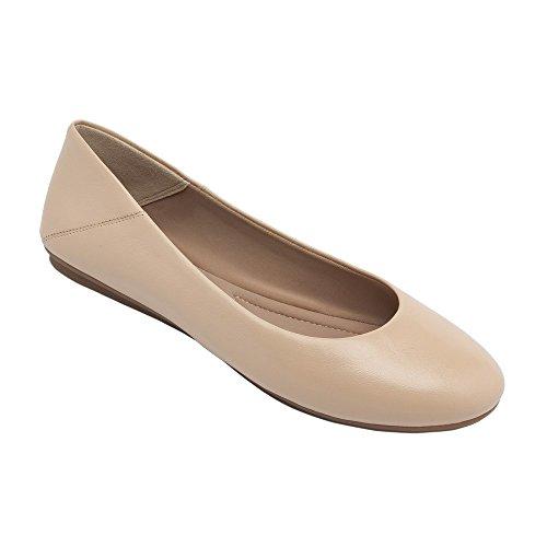 Pic / Pay Kay - Ballet De Cuero Para Mujer Planas - Punta Redonda Clásica Cómoda Slip-on Blush Leather