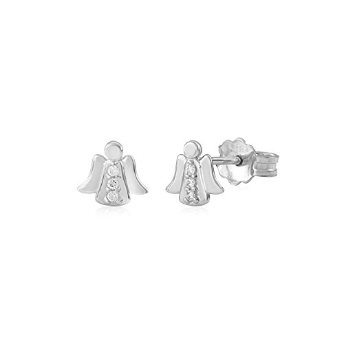 UNICORNJ 14K White Gold Children's Kids Guardian Angel Post Earrings with CZ's Italy