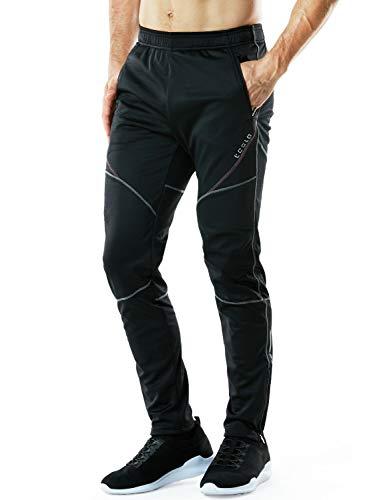 (TSLA Men's Windproof Cycling Thermal Fleece Winter Pants Running Hiking Cold Active Bottoms Sweats, Cycling Windpants(ykb01) - Black & Grey & Red, Large (Waist 32.5-35 Inch))