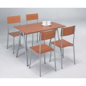 Closet Conjunto de Cocina 4 sillas y 1 Mesa 113 x 75 x 76 cm: Amazon ...