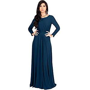 0f466738307e KOH KOH Petite Womens Long Full Sleeve Sleeves Flowy Empire Waist Fall  Winter Modest Formal Floor Length Abaya Muslim Gown Gowns Maxi Dress  Dresses