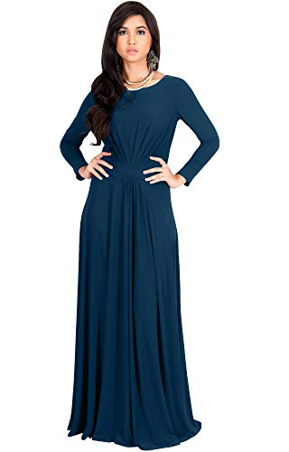 Empire Blue Apparel - KOH KOH Womens Long Full Sleeve Sleeves Flowy Empire Waist Fall Winter Modest Formal Floor Length Abaya Muslim Gown Gowns Maxi Dress Dresses, Blue Teal M 8-10