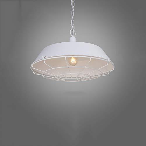 (Jtivcs Vintage Fisherman's Style Metal Ceiling Pendant Light Shade Industrial Retro Wrought Iron Hanging Lamp Farmhouse Barn Cage Suspension Lantern E27 Edison Restaurant Droplight (Size : S))