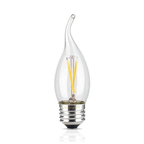 CRLight 2W LED Filament Candle Light Bulb, 3200K Soft White 250LM, E26 Medium Base Chandelier Lamp, C35 Flame Shape Bent Tip, 25W Equivalent, Cross Type Filament Design - 10 Medium Base Chandelier Bulb