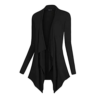 Urban CoCo Women's Drape Front Open Cardigan Long Sleeve Irregular Hem at Women's Clothing store