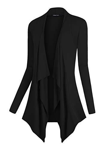 Black Sweater Jacket - Urban CoCo Women's Drape Front Open Cardigan Long Sleeve Irregular Hem (L, Black)
