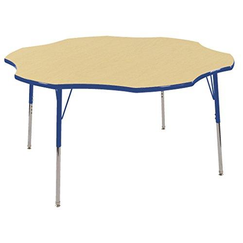 ECR4Kids T-Mold 60'' Flower School Activity Table, Standard Legs w/ Swivel Glides, Adjustable Height 19-30 inch (Maple/Blue) by ECR4Kids